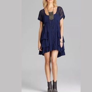 Free people navy blue tiered dress